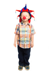 Child clown shut his eyes