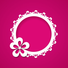 pink background with a floral frame