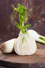 Sliced fennel on an old wooden surface