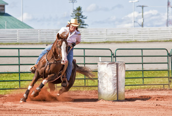 Printed kitchen splashbacks Horseback riding Barrel Racer