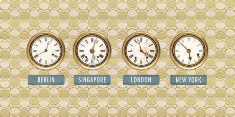 Retro styled image of old clocks with world times