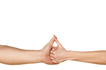 male and female hands are shaking hands and showing thumbs up