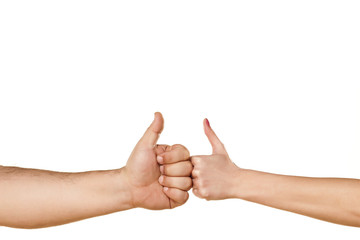 male and female hand showing thumbs up on white background