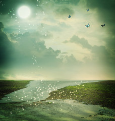Butterflies and moon in fantasy landscape