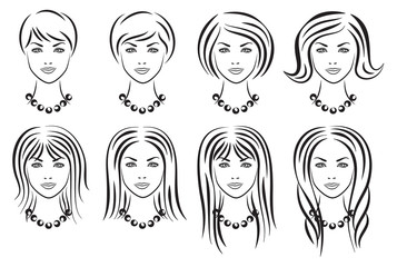 Set of woman hair styles