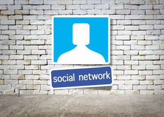 social network and room with brick
