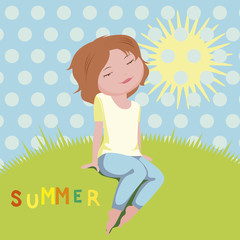 Summer girl story vector illustration