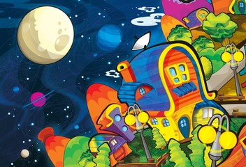 Poster de jardin Cosmos The aliens - ufo - for kids