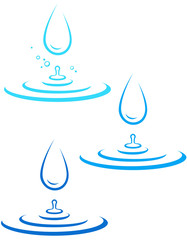 set with water splash and drop