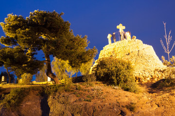 Calvary at Park Guell in night