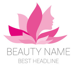 Leaf woman pink beauty vector logo