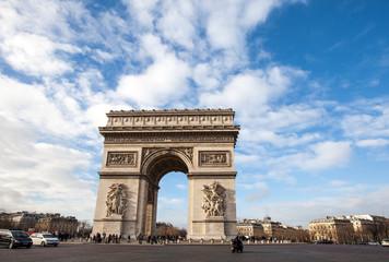 Fototapete - Arc de Triomphe, Paris in nice blue sky day