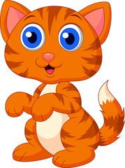 Printed kitchen splashbacks Cats Cute cat cartoon