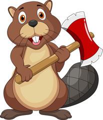 Beaver cartoon holding axe