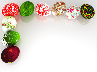 Easter eggs on a white background.