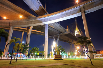 Recreation park under Bhumibol bridge at night