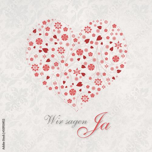 Einladung Zur Hochzeit Mit Dem Herz Wir Sagen Ja