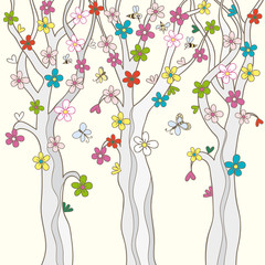 Blossom trees, bees and butterflies. Vector illustration