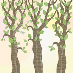 Trees with green leaves. Vector illustration