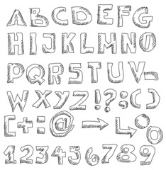 Hand drawn font and numbers, doodles