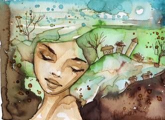 Printed roller blinds Painterly Inspiration portrert ziemii