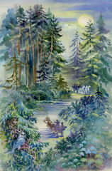 Watercolor Landscape Collection: Night Forest