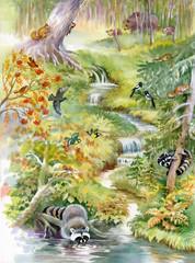 Ilustracja Akwarela, Zwierzęta leśne. Plakaty dla dzieci.