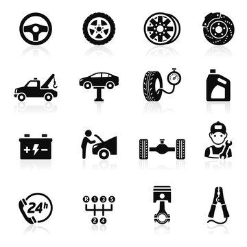 Car service maintenance icon set1. Vector illustration.