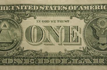 Bent one dollar bill