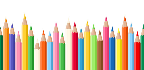 Horizontal seamless background with colored pencils. Vector.