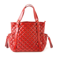 Padded red patent leather handbag with tassels