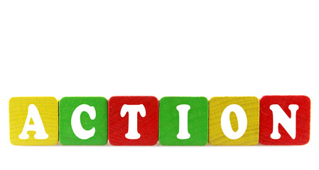 action - isolated text in wooden building blocks