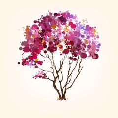 Spring vector tree of blots background