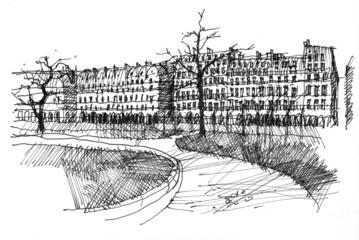 Foto op Canvas Illustratie Parijs Pen drawing of Rue de Rivoli in Paris, France