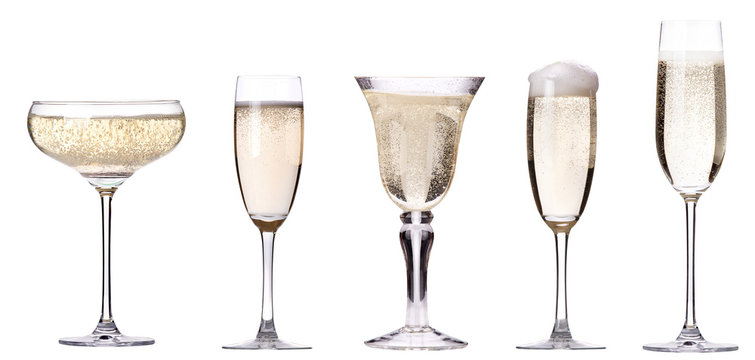 glass of champagne set isolated