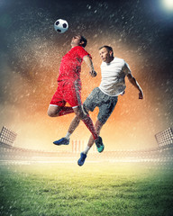 Poster Football two football players striking the ball