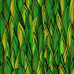 Bright green gradient seamless pattern with grass sprouts