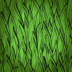 Monochrome green seamless pattern with grass sprouts. Eps10