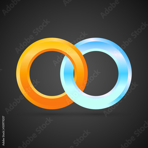 Business Logo Design 3D – Fire & Ice – two interlocking rings\