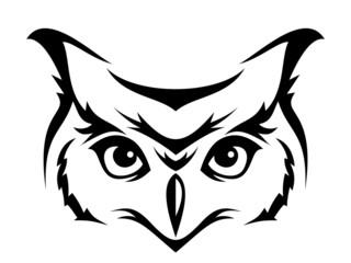 Head of horned owl. Vector illustration.