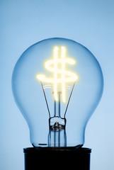 Light bulb with glowing Dollar Symbol