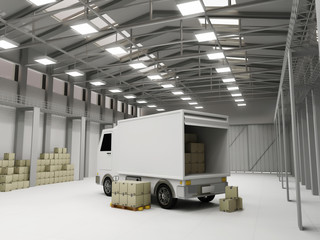 Modern Storehouse with Delivery Van and Boxes