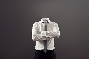 invisible man standing with folded arms