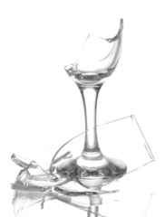 Broken wineglass isolated on white