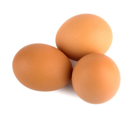 Eggs closeup isolated on white background