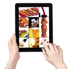 meat dishes and alcohol  on a tablet screen