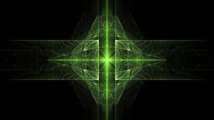 Fractal flames background. Green on black.