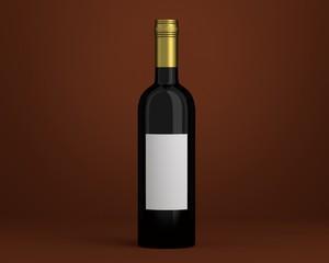 Weinflasche schwarz mit Etikett Kappe gold auf Hintergrund braun
