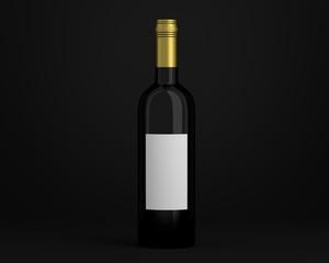 Weinflasche schwarz mit Etikett Kappe gold Hintergrund schwarz
