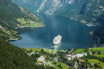 Tuinposter Scandinavië Cruise ship in Geiranger seaport, Norway